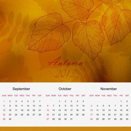 Autumn season calendar page of new 2013 year  Vector