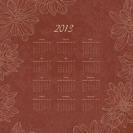 calender: Vintage retro calender of 2013 new year