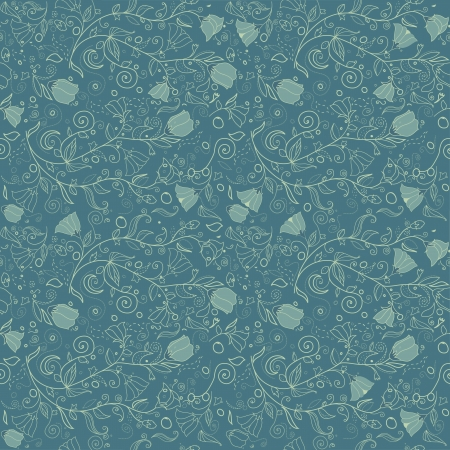 Abstract blue floral seamless  Vector