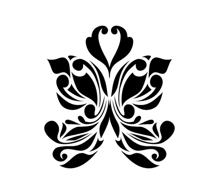 flower tattoo design: Retro floral butterfly background vector eps 8