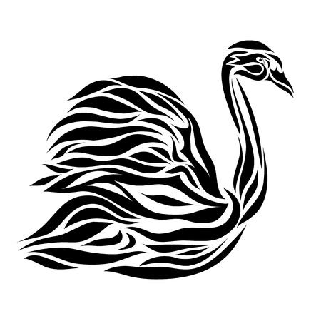 black swan: Black floral swan background vector eps 8