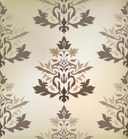 scroll work: Vintage damask ornament background  Illustration