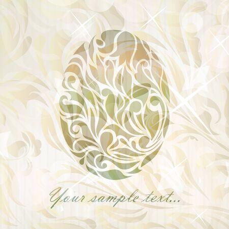 waive: Vintage wedding egg background  Illustration