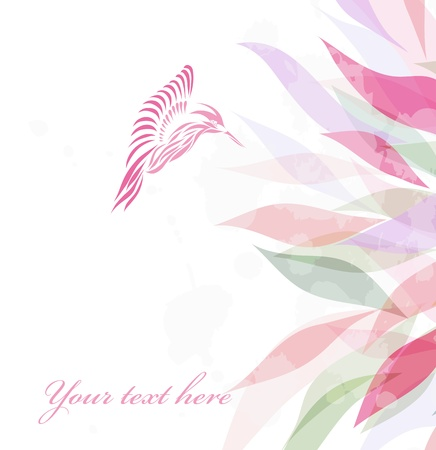 birds of paradise: Beautiful pink hummingbird background  Illustration