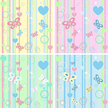 Set baby butterfly card Vector