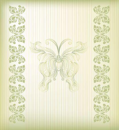 flower tattoo design: Retro floral butterfly background  Illustration