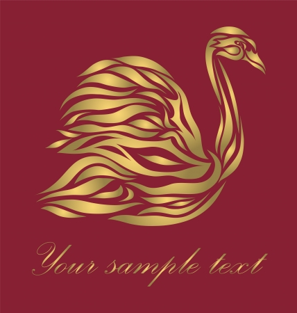 Gold floral swan background  Vector