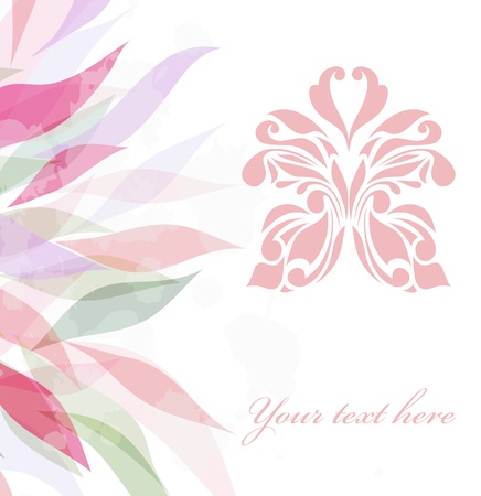 Retro floral butterfly background  Illustration