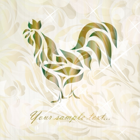 Vintage black rooster background  Vector