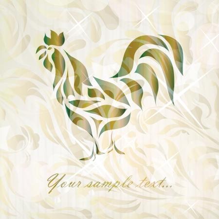 waive: Vintage black rooster background  Illustration