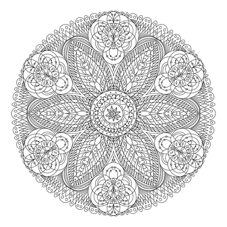 round: Monochrome black and white lace ornament