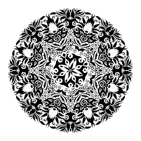 Monochrome black and white lace ornament Stock Vector - 16313183