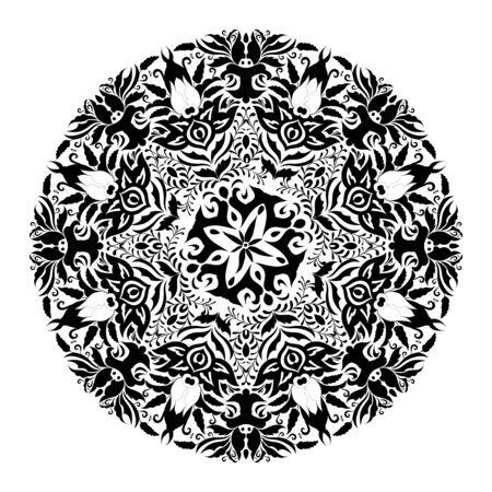 Monochrome black and white lace ornament Stock Vector - 16313183