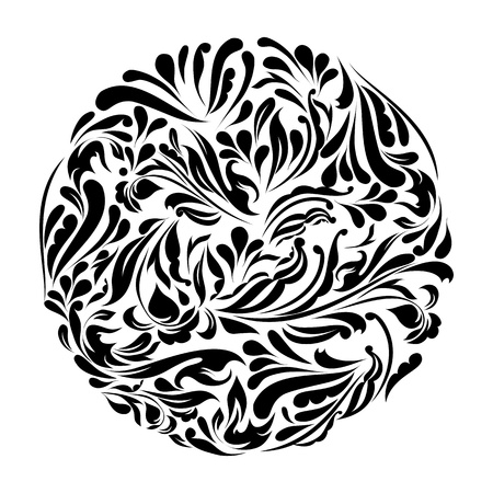 floral ornaments: Monochrome black and white lace ornament