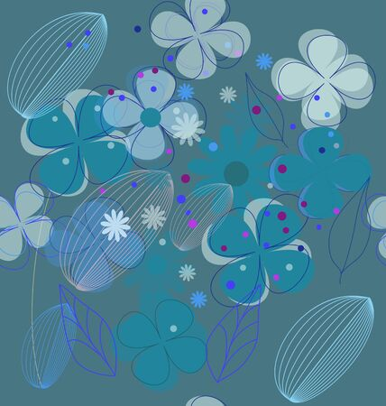 Beautiful blue floral season seamless Vector