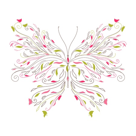 Beautiful curl butterfly card  Vector