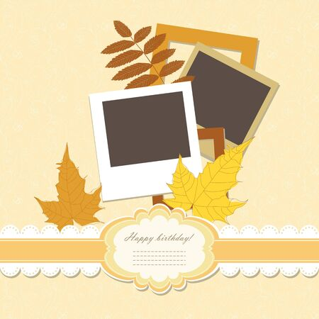 Retro baby frame vintage photo  Vector