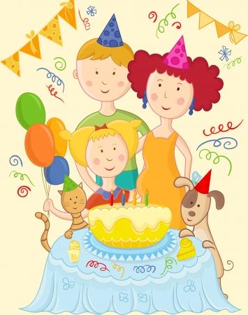 祝う: 幸せな家族を祝う誕生日カード  イラスト・ベクター素材