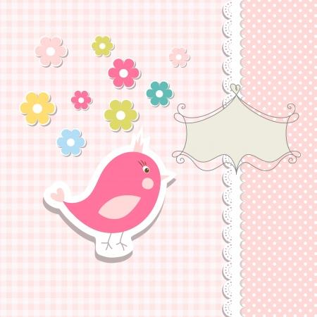 flores de cumplea�os: P�jaro del vintage doodle por marco Vectores
