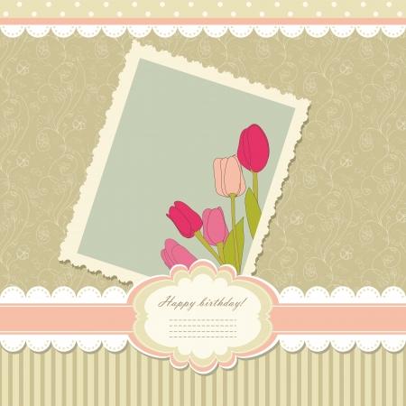 album greetings: Retro baby frame vintage photo Illustration