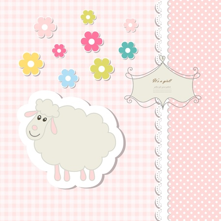 ewe: Vintage doodle toy for frame Illustration