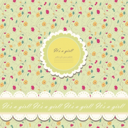 Romantic yellow scrapbooking with text for invitation, greeting, happy birthday, label, postcard, frame, baby seamless, child posrcard, children pattern, clip art, holiday, gift and etc Vector
