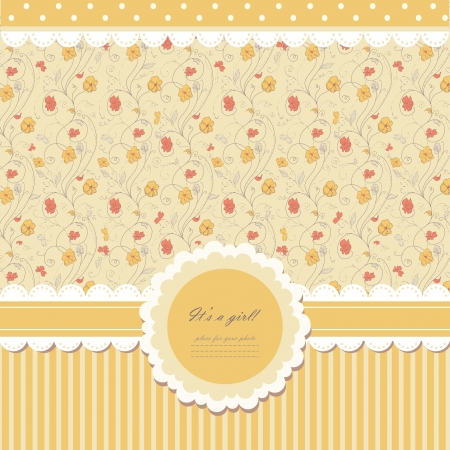 Romantic yellow scrapbooking with text for invitation, greeting, happy birthday, label, postcard, frame, baby seamless, child posrcard, children pattern, clip art, holiday, gift and etc