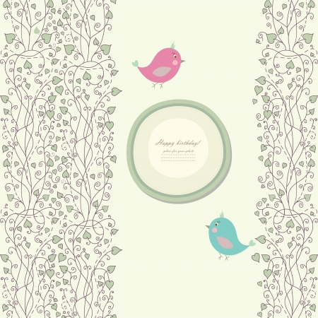 baby romantic: Vintage doodle bird for frame