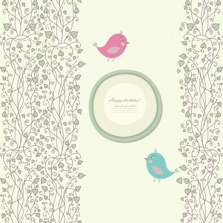 baby shower invitation: Vintage doodle bird for frame