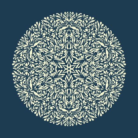 Beautiful blue lace ornament for merry christmas card  Vector