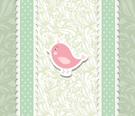 Vintage cute art baby background for invitation Stock Vector - 17989701