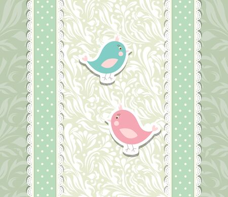 Vintage cute art baby background for invitation Stock Vector - 17989570