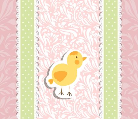 chick: Romantic pink baby hand drawing card for greeting illustration