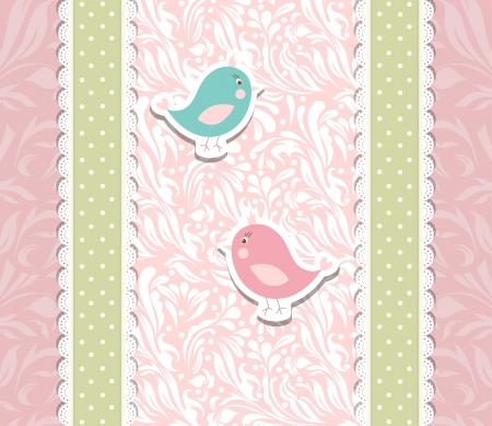 Vintage cute art baby pink background for invitation Stock Vector - 17989573