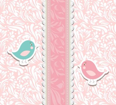 スクラップブッキング: 招待のビンテージ キュートなアート ベビーピンクの背景