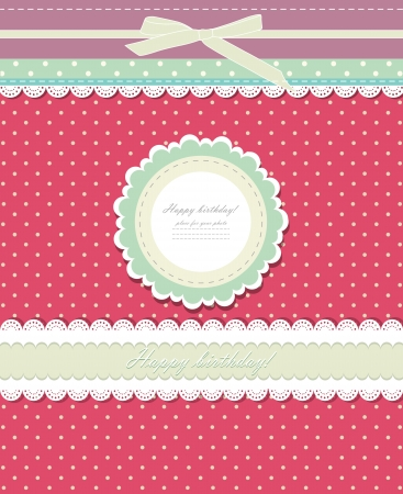 girls with bows: Vintage red background for invitation