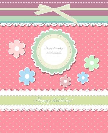 スクラップブッキング: 招待状のヴィンテージのピンクの背景  イラスト・ベクター素材