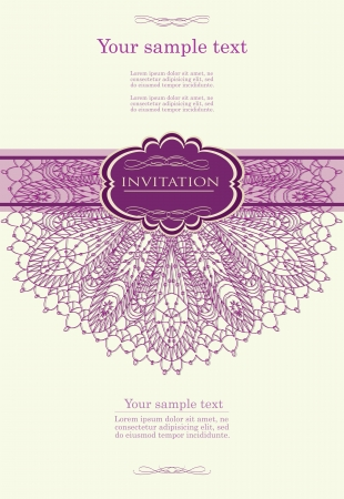 wedding card design: Beautiful purple invitation card Illustration
