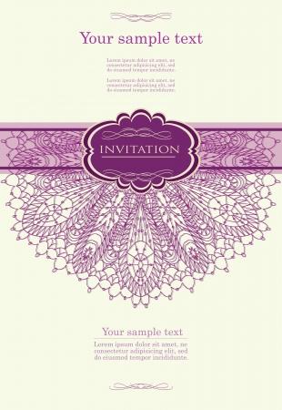 greeting card backgrounds: Beautiful purple invitation card Illustration