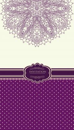 purple ribbon: Vintage background for invitation card
