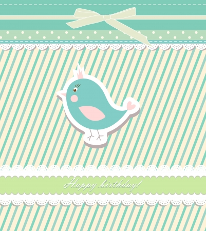 Vintage doodle bird for frame wallpaper Illustration