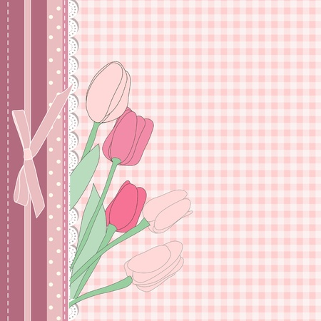 Vintage card with pink tulip