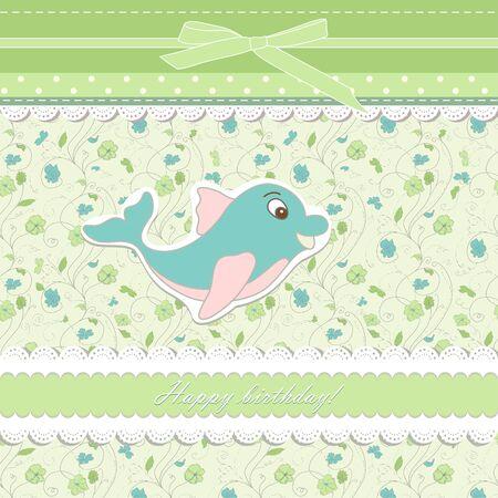 happy birthday cartoon: Baby card with dolphin toy Illustration