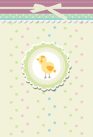 baby shower yellow: Vintage doodle retro bird chicken