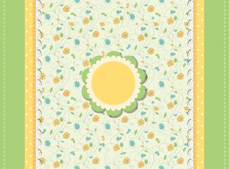 Rétro carte de voeux floral de la mode Banque d'images