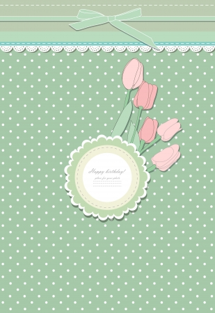 scrap booking: Retro fashion floral greeting card vector Illustration
