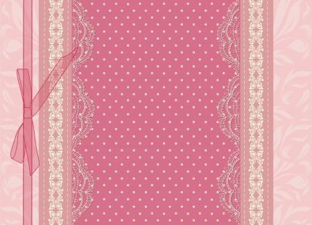 moño rosa: Vector tarjeta de boda rosado de la vendimia Vectores