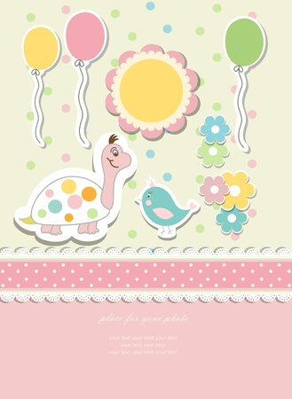 Vintage doodle baby vector card photo