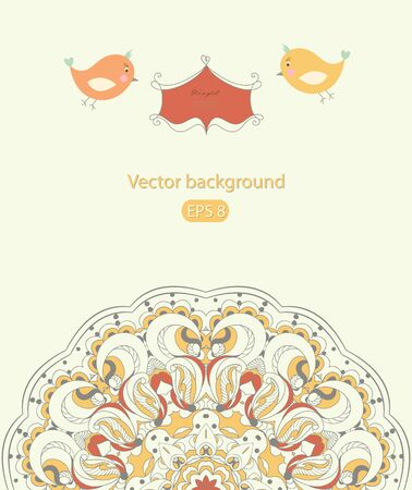 Romantic greeting card with birds  Vector