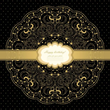 Gold card with lace Stock Vector - 21159944